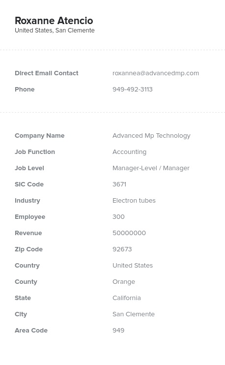 Sample of Accounting Directors, Managers Email List