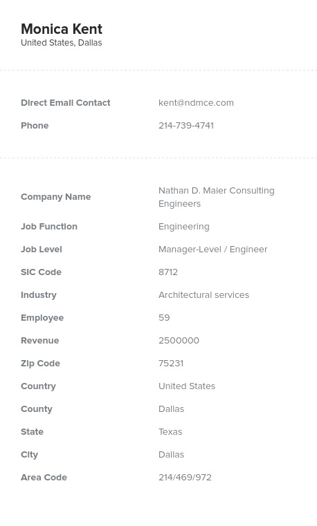 Sample of Architectural Services Email List