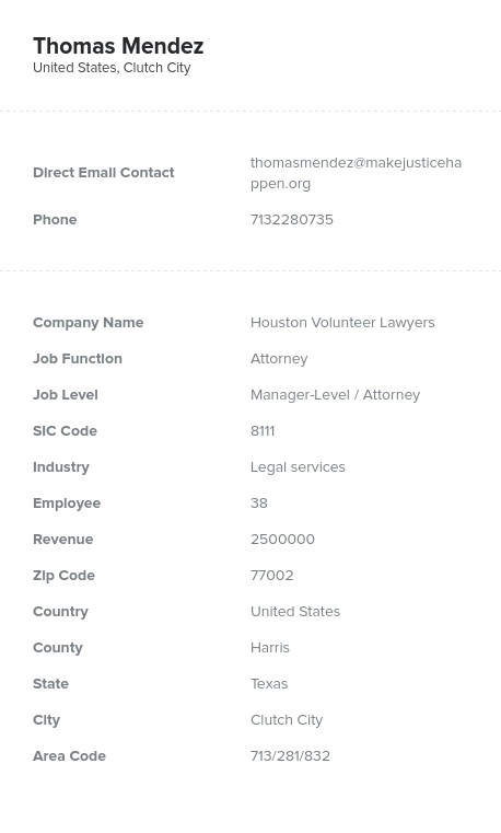 Sample of Attorney Email List
