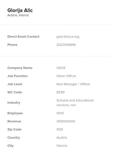 Sample of Austria Email List