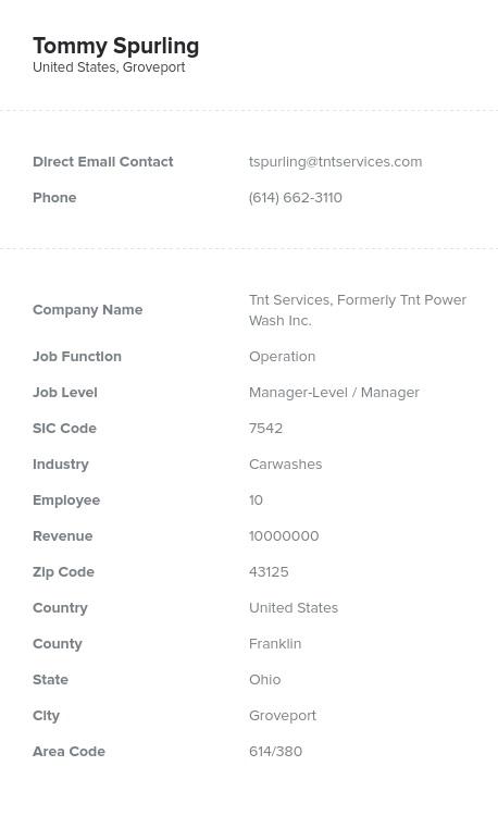 Sample of Automobile Repair Email List