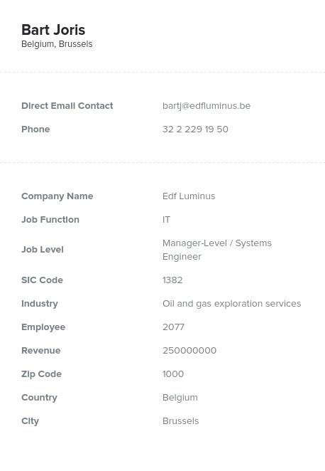 Sample of Belgium Email List