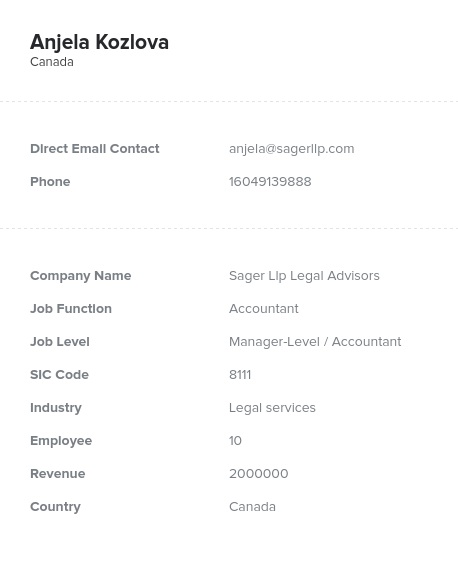Sample of Canadian Accountants Email List
