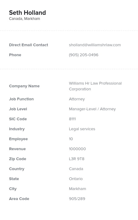 Sample of Canadian Attorneys Email List