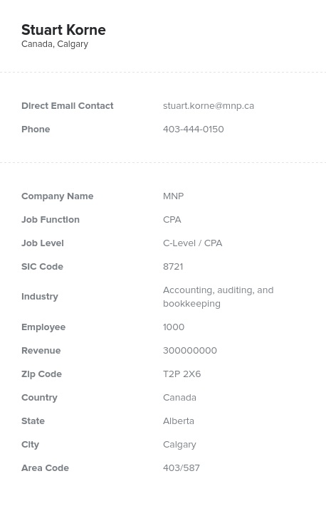 Sample of Canadian CPA Email List
