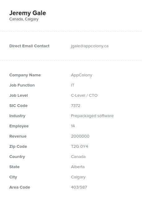 Sample of Canadian CTOs, CIOs Email List