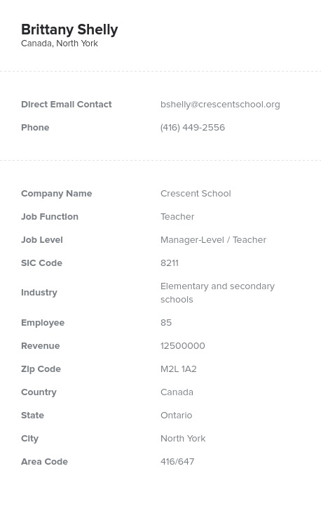 Sample of Canadian Teachers Email List