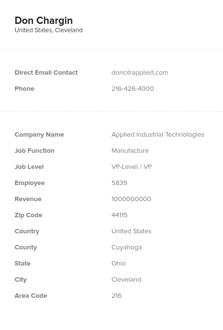 Sample of Chief and VP of Manufacturing, Production Email List