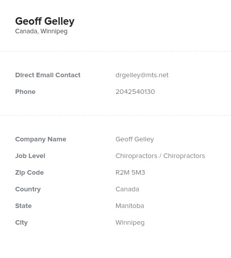 Sample of Chiropractors in CanadaEmail List