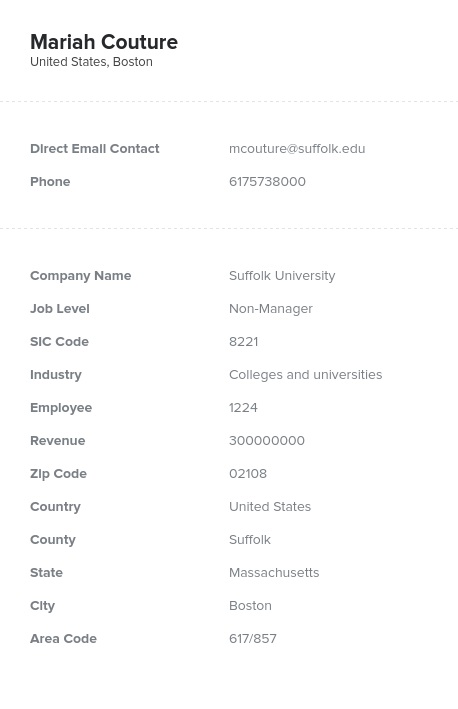 Sample of Colleges Universities Email List