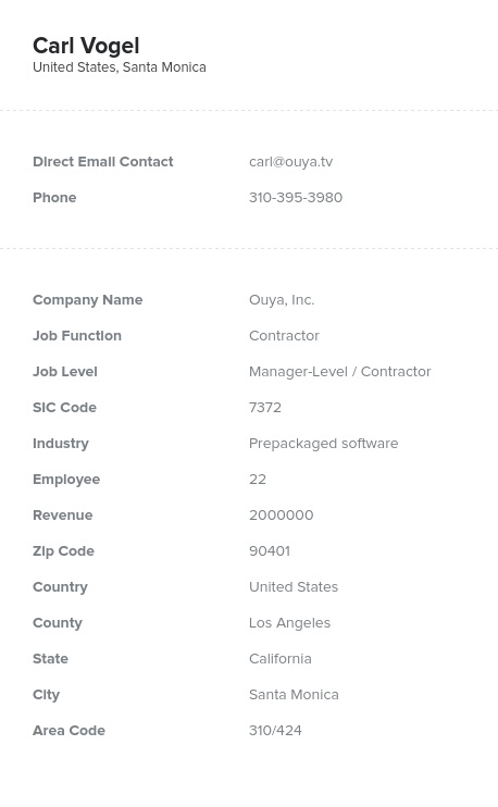 Sample of Contractors Email List