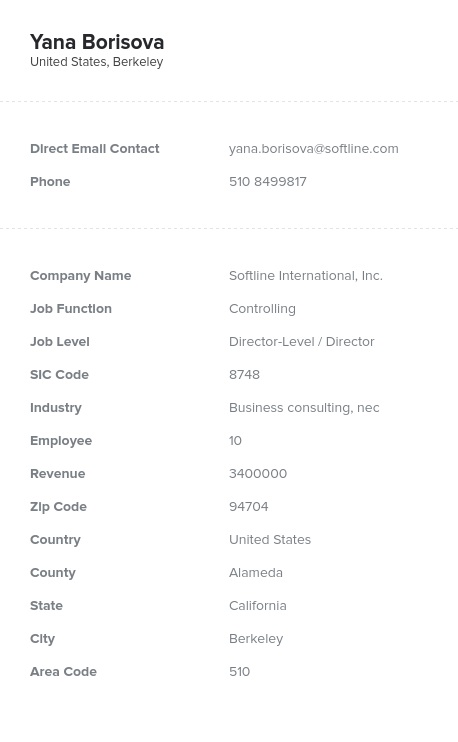 Sample of Controlling Directors, Managers Email List