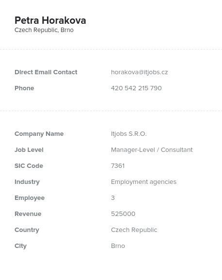 Sample of Czech Republic Email List