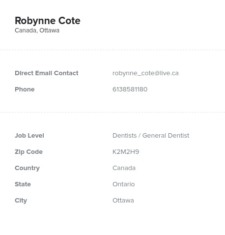 Sample of Dentists in CanadaEmail List