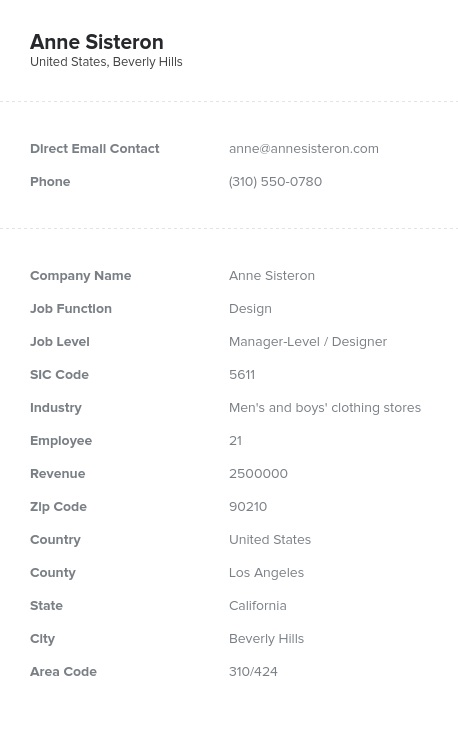Sample of Design Email List