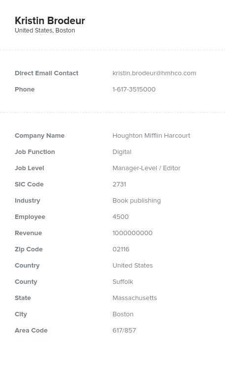 Sample of Digital Email List