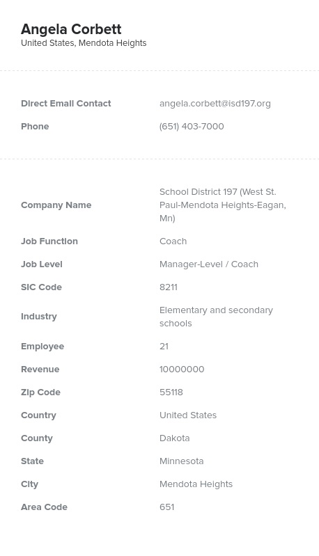 Sample of Elementary and Secondary Schools Email List