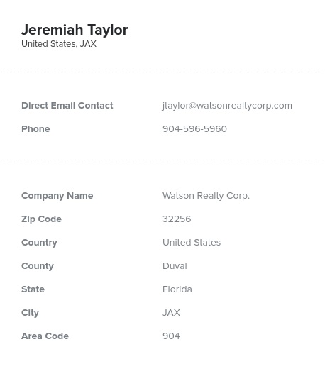 Sample of Florida Realtors, Real Estate Agents Email List