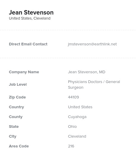 Sample of General Surgeon Email List