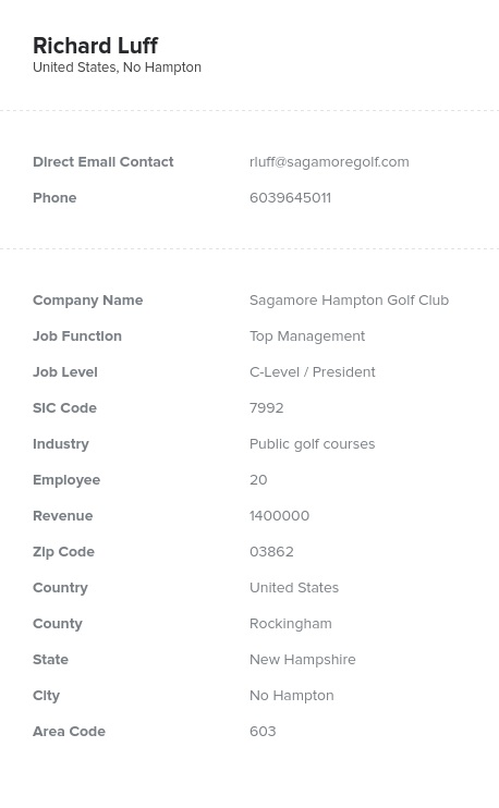 Sample of Golf Courses Email List