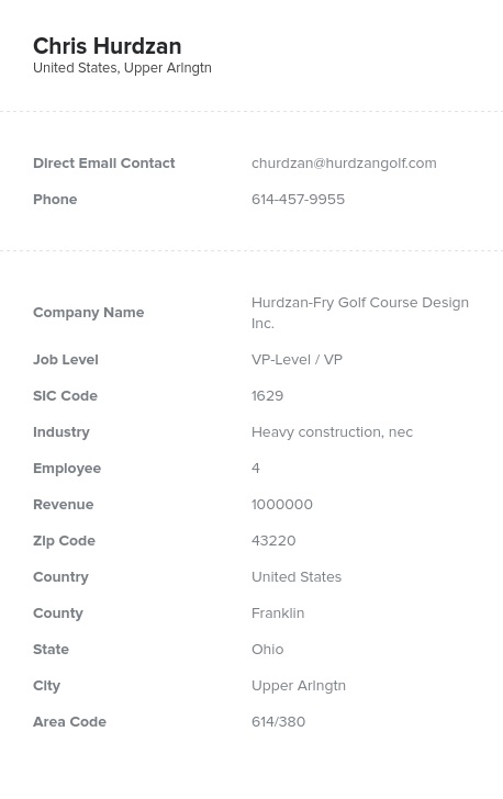 Sample of Heavy Construction, Contractors Email List