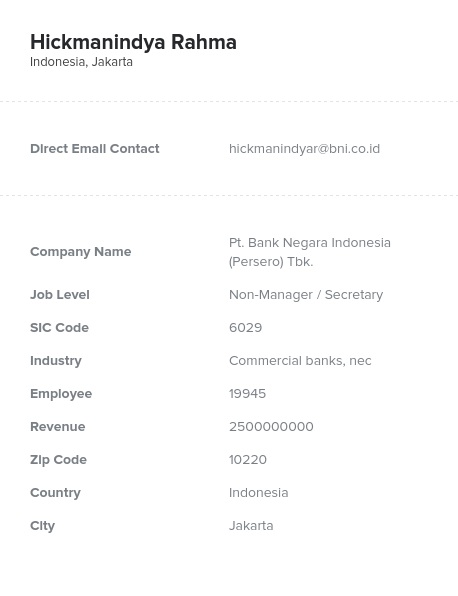 Sample of Indonesia Email List