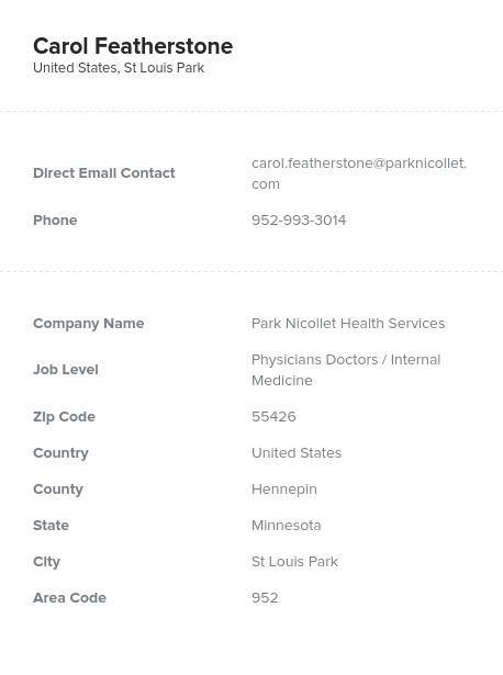 Sample of Internal Medicine Email List