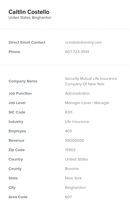 Sample of Life Insurance Email List