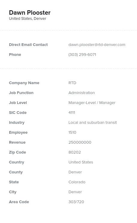 Sample of Local, Suburban Passenger Transport Email List