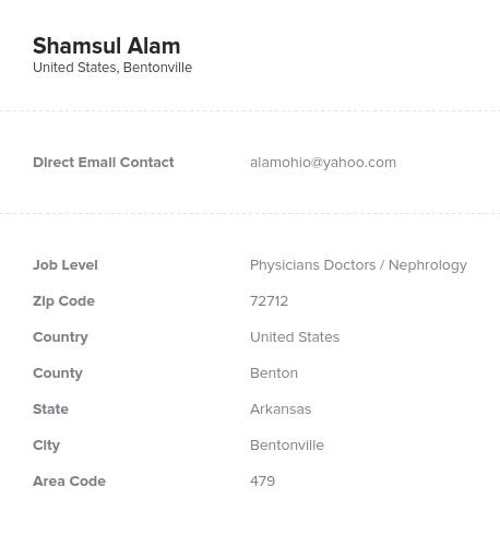 Sample of Nephrology Email List