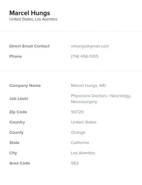 Sample of Neurology, Neurosurgery Email List