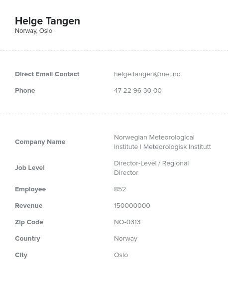 Sample of Norway Email List