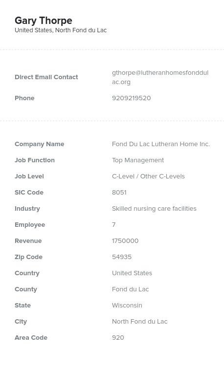 Sample of Nursing Homes Email List