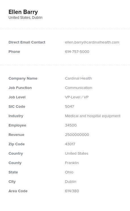 Sample of Ohio Email List