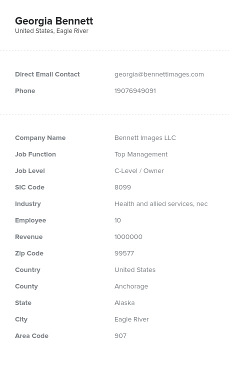 Sample of Owner, Partner, Shareholder Email List