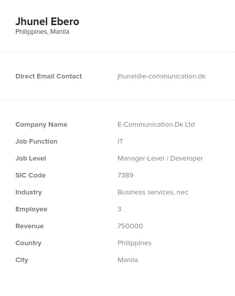 Sample of Phillippines Email List