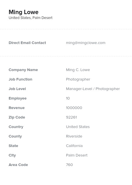 Sample of Photographers Email List