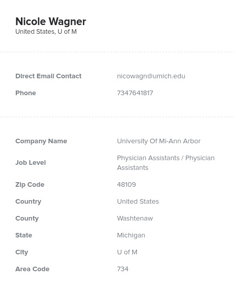 Sample of Physician Assistants Email List