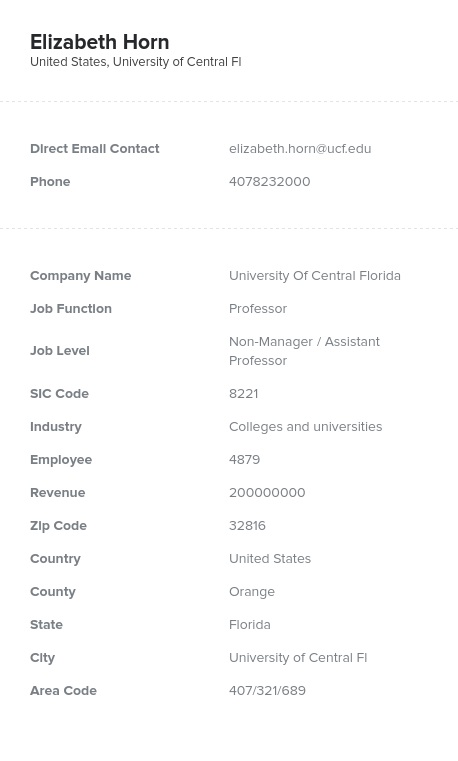 Sample of Professor Email List
