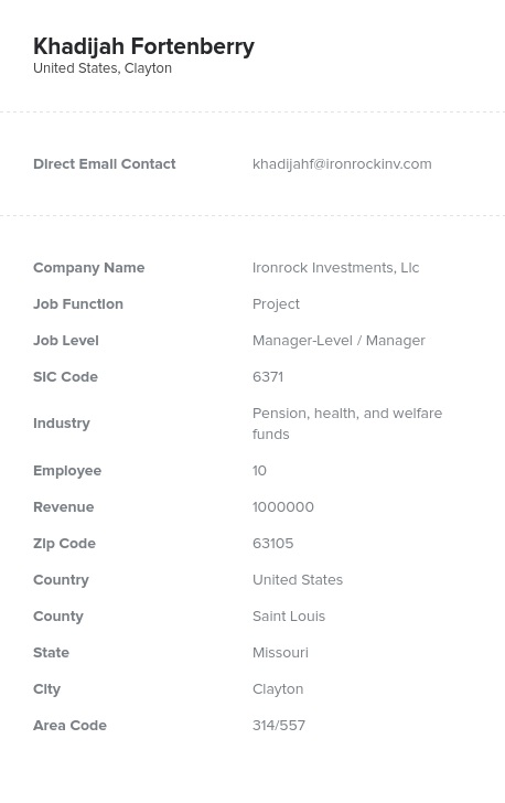 Sample of Project Email List