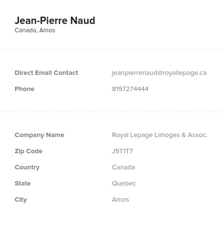 Sample of Quebec Realtors, Real Estate Agents Email List