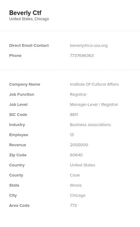 Sample of Registrars Email List