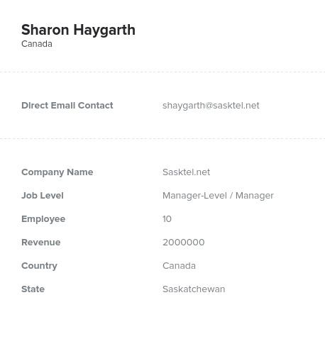 Sample of Saskatchewan Email List