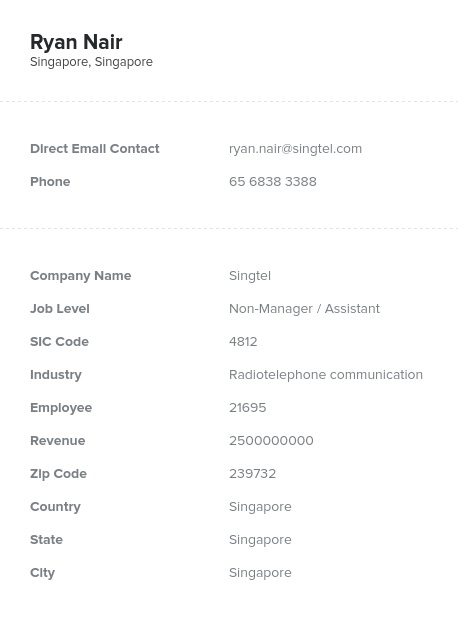 Sample of Singapore Email List