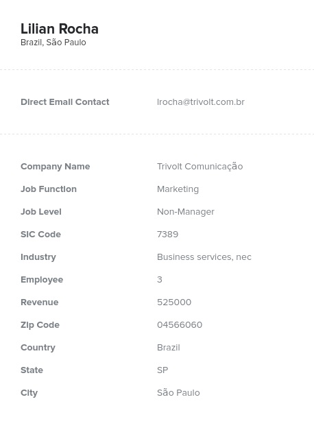 Sample of South American Market Email List