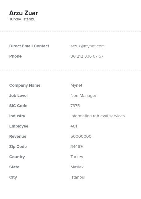 Sample of Turkey Email List