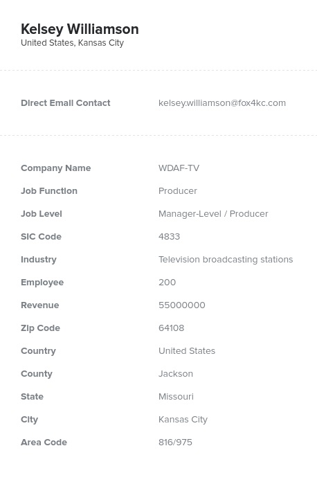 Sample of TV and Radio Broadcasting Email List