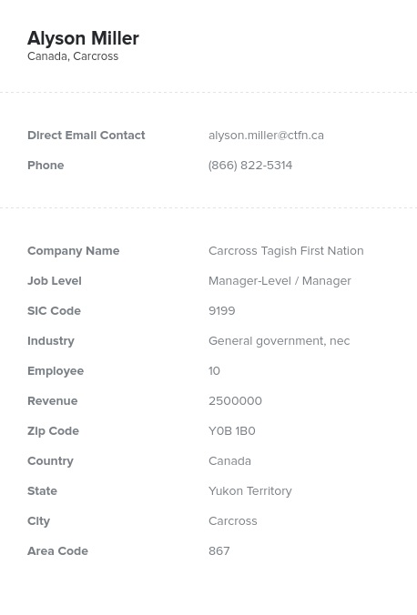 Sample of Yukon Email List